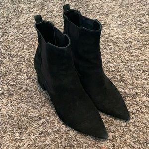 Marc Fisher Black Suede Leather Heeled Bootie 6.5